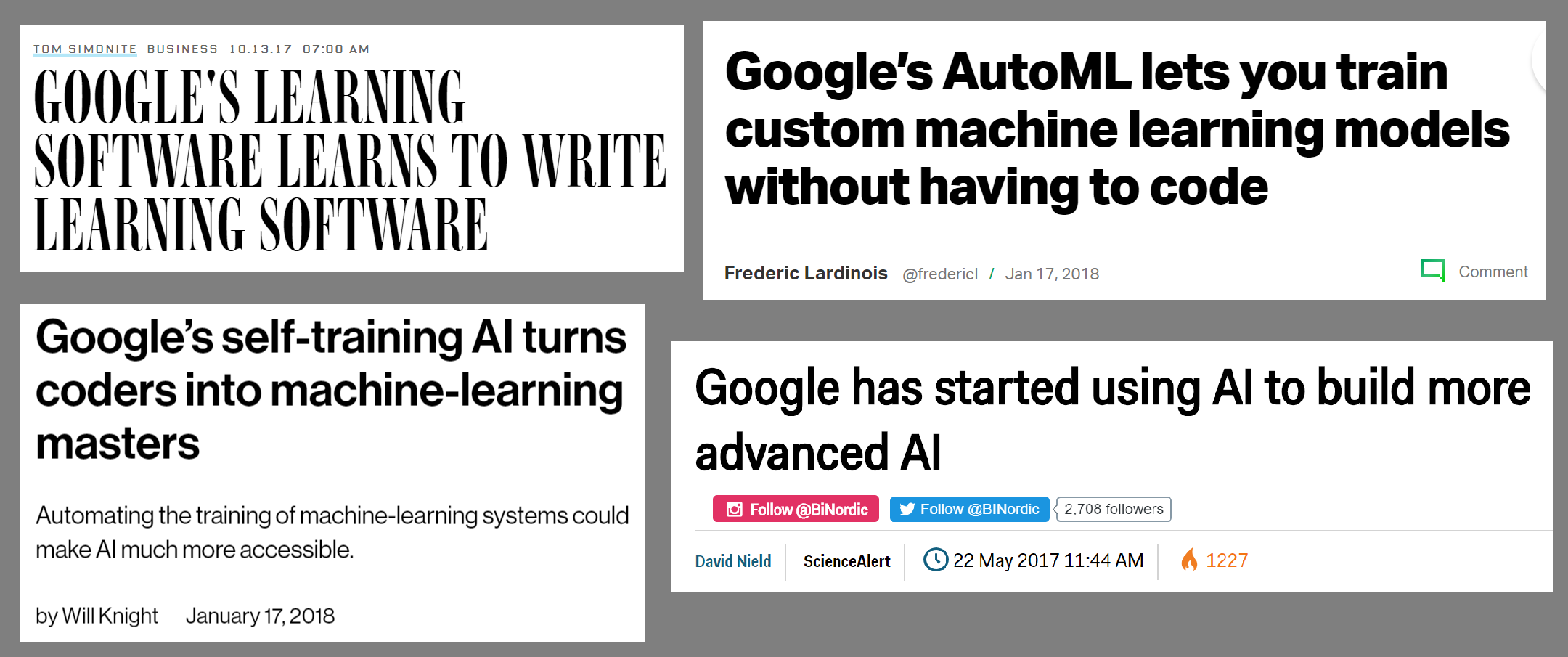 Headlines from just a few of the many, many articles written about Google's AutoML and Neural Architecture Search