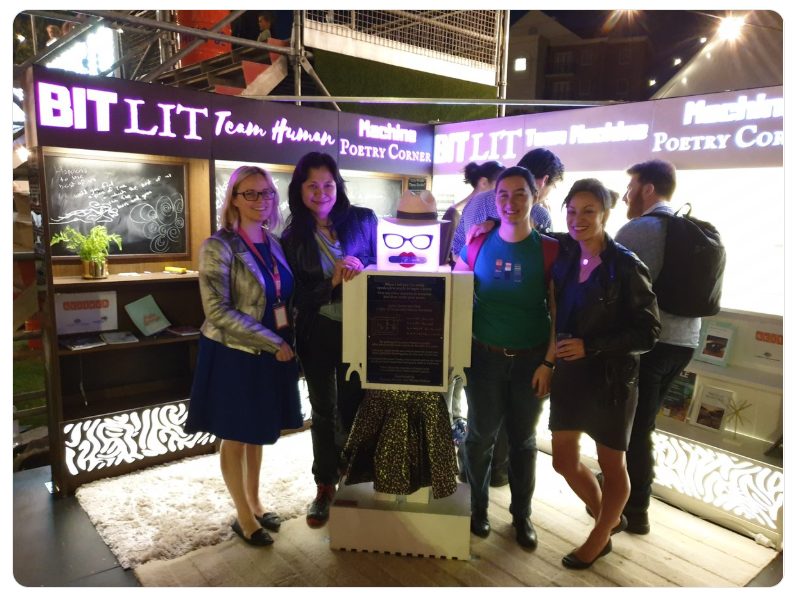 Part of the Perth Machine Learning team with their BitLit Booth at Fringe World (Sarada is 2nd from the left)