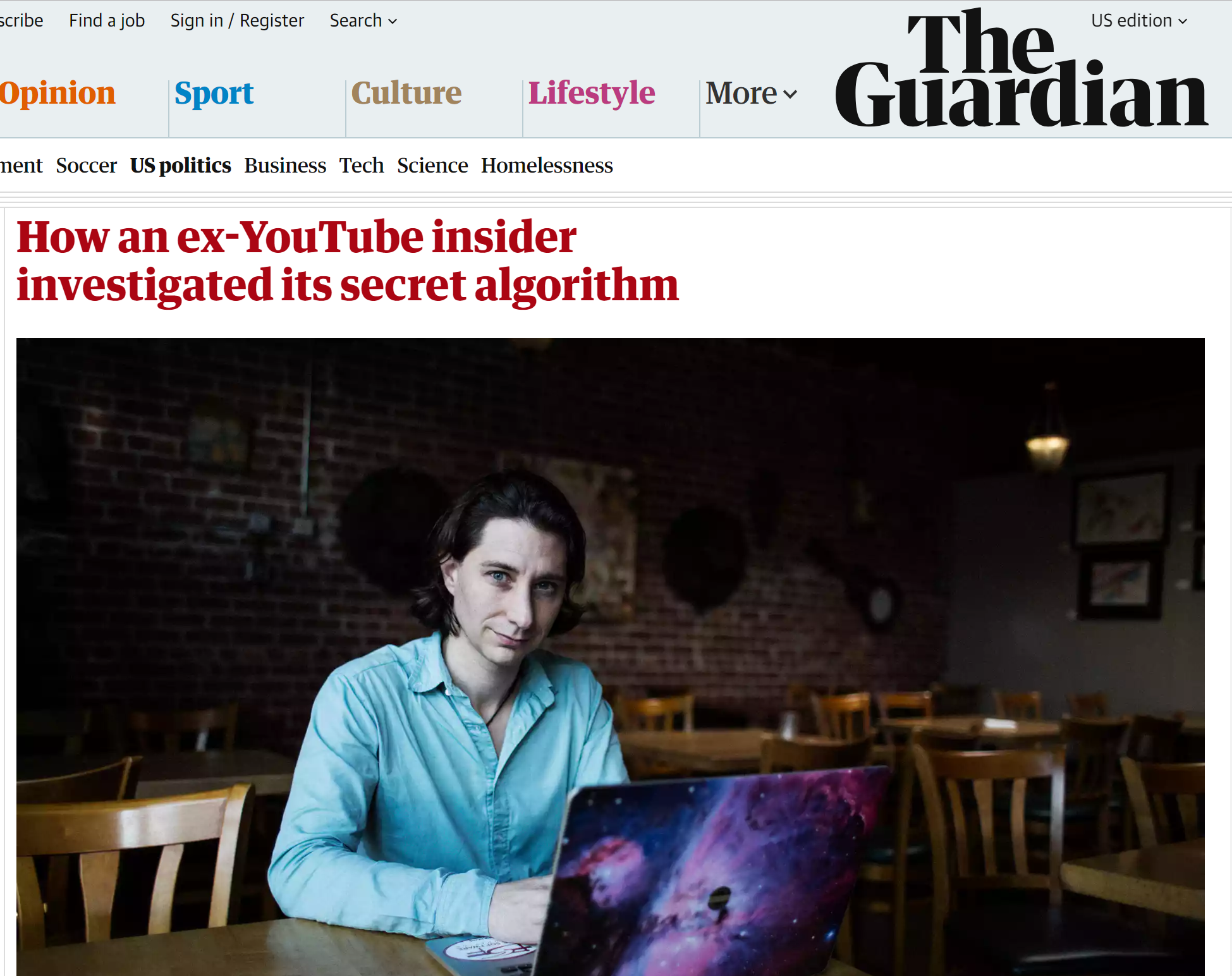 Photo of Guillaume Chaslot from the Guardian article