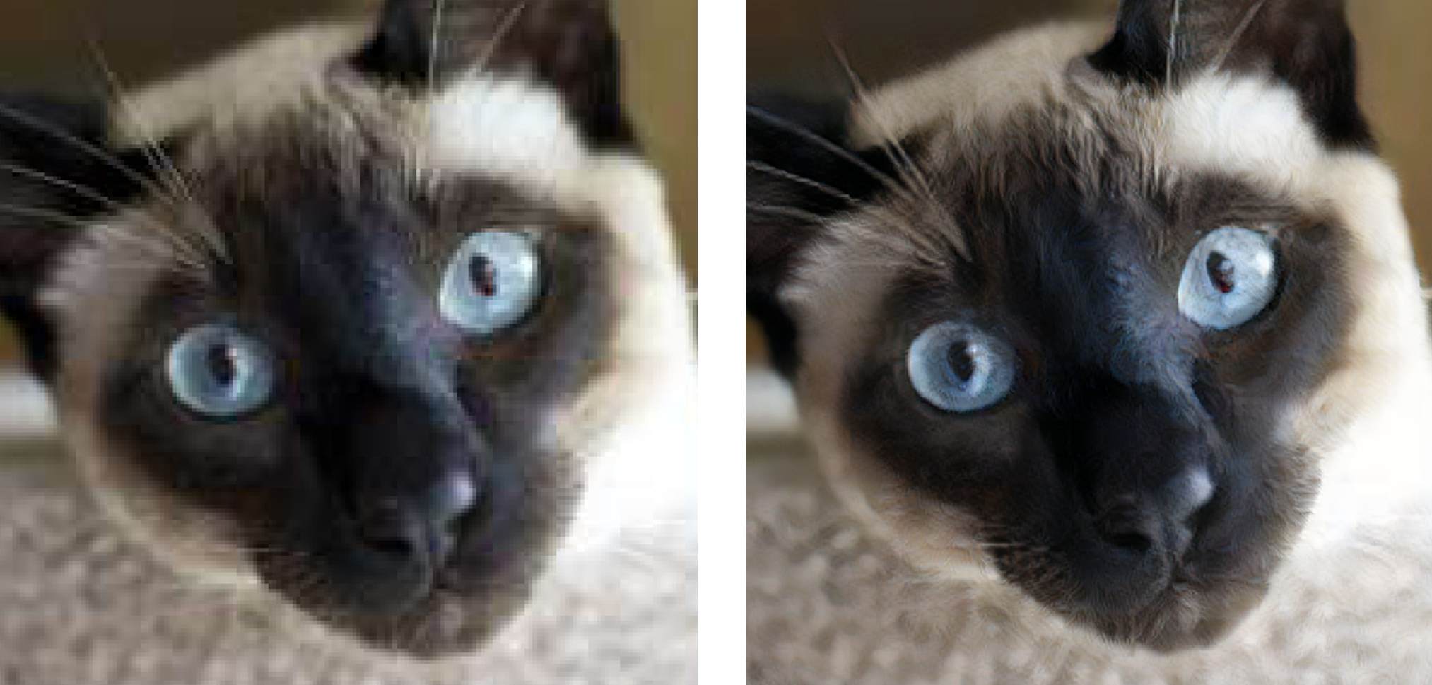 Low resolution jpeg image (left) upsampled with decrappify (right)