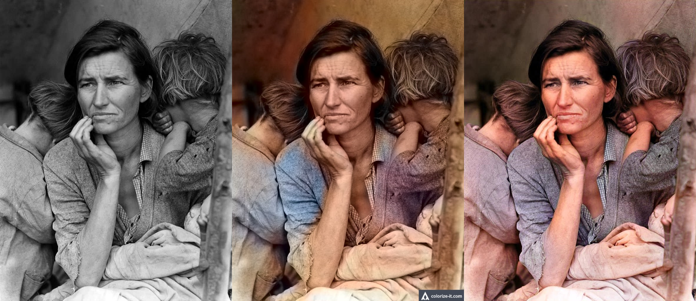 'Migrant Mother' by Dorothea Lange (1936) colorized by DeOldify (right) and baseline algorithm (center)