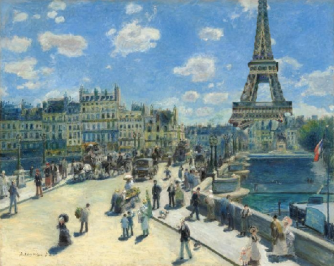 Example of adding the Eiffel Tower to a painting using a neural network