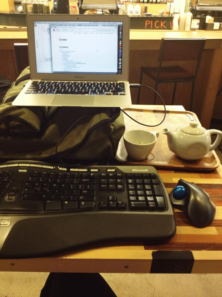 When working at a coffee shop (pre-pandemic), I brought an external keyboard and mouse, and used my rolled-up backpack to raise the height of my laptop screen