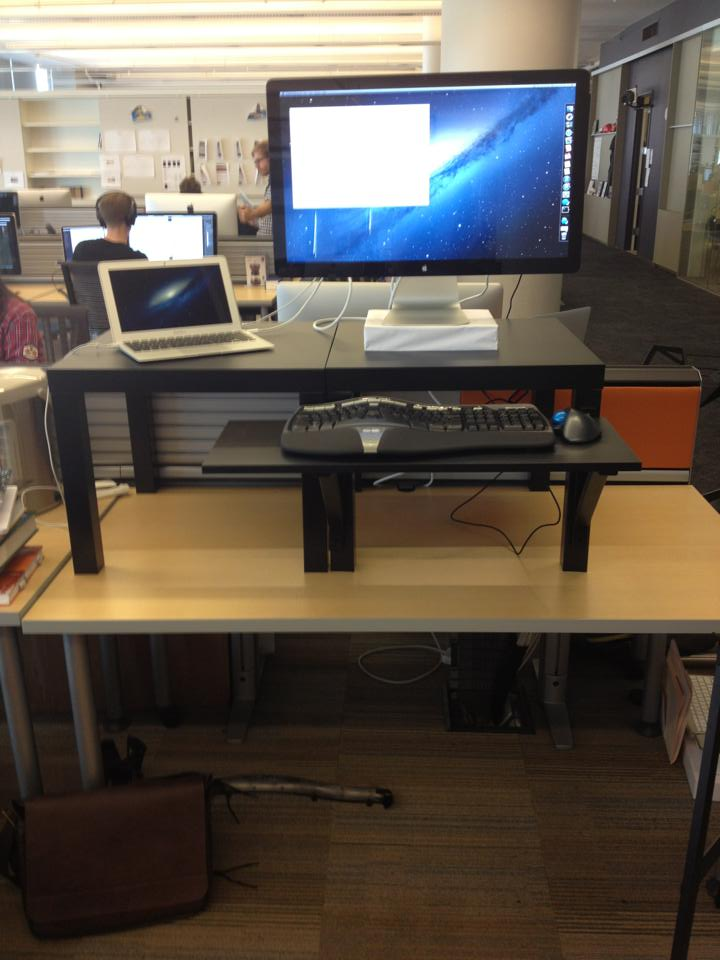 In a previous job, many of us set up $22 standing desks using Ikea side tables