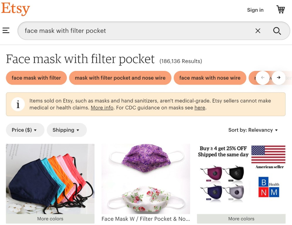 Choose from thousands of mask designs with a filter pocket