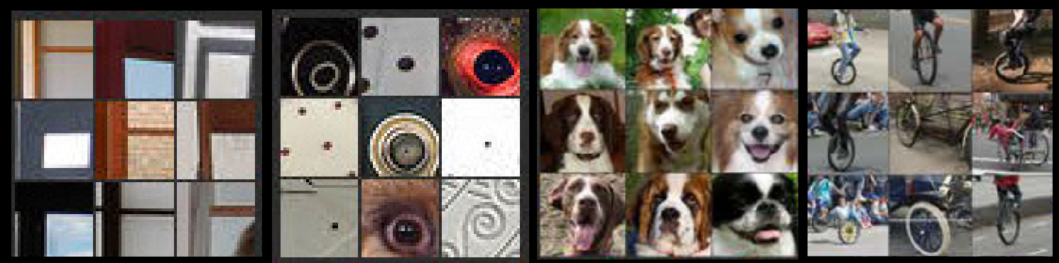 Examples from Matthew Zeiler and Rob Fergus of 4 features learned by image classifiers: corners, circles, dog faces, and wheels