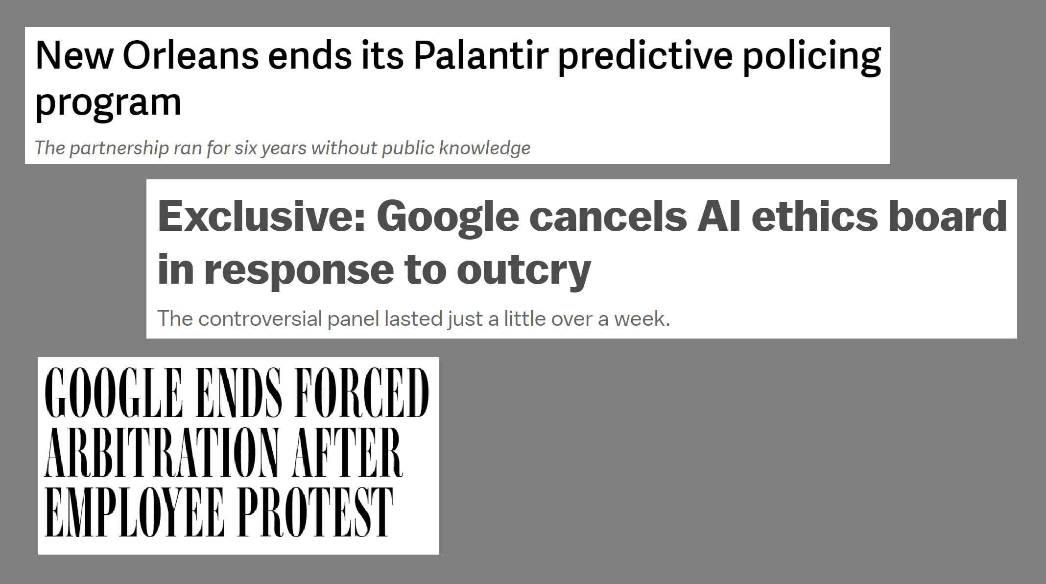 Some positive news: New Orleans canceled its program with Palantir, Google ending forced arbitration, and Google canceled 'AI ethics' board which included a bigot