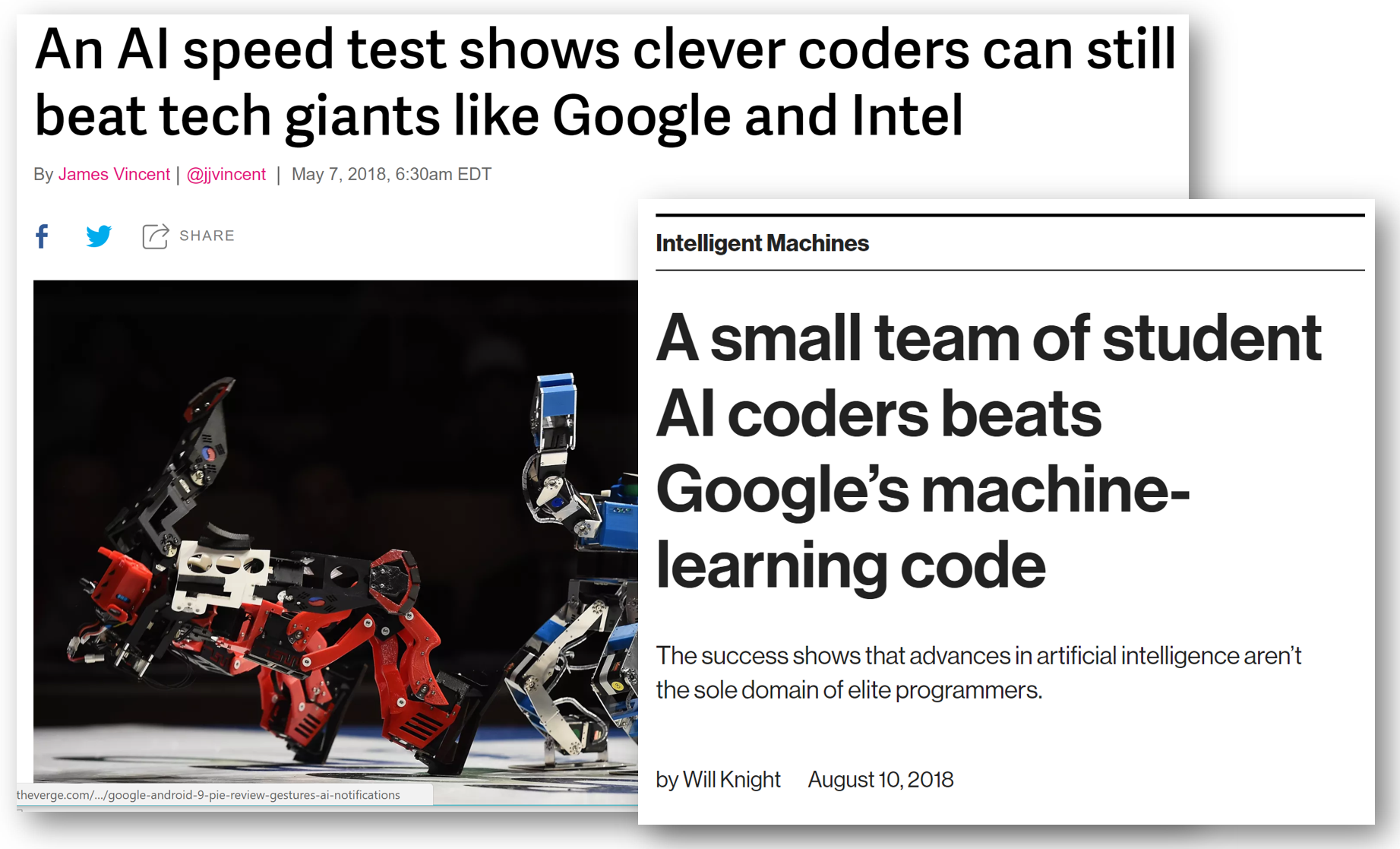 Coverage of fast.ai in the Verge and MIT Technology Review