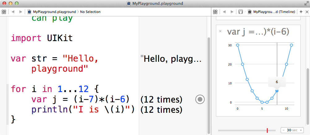 Demonstration of Playgounds in Xcode