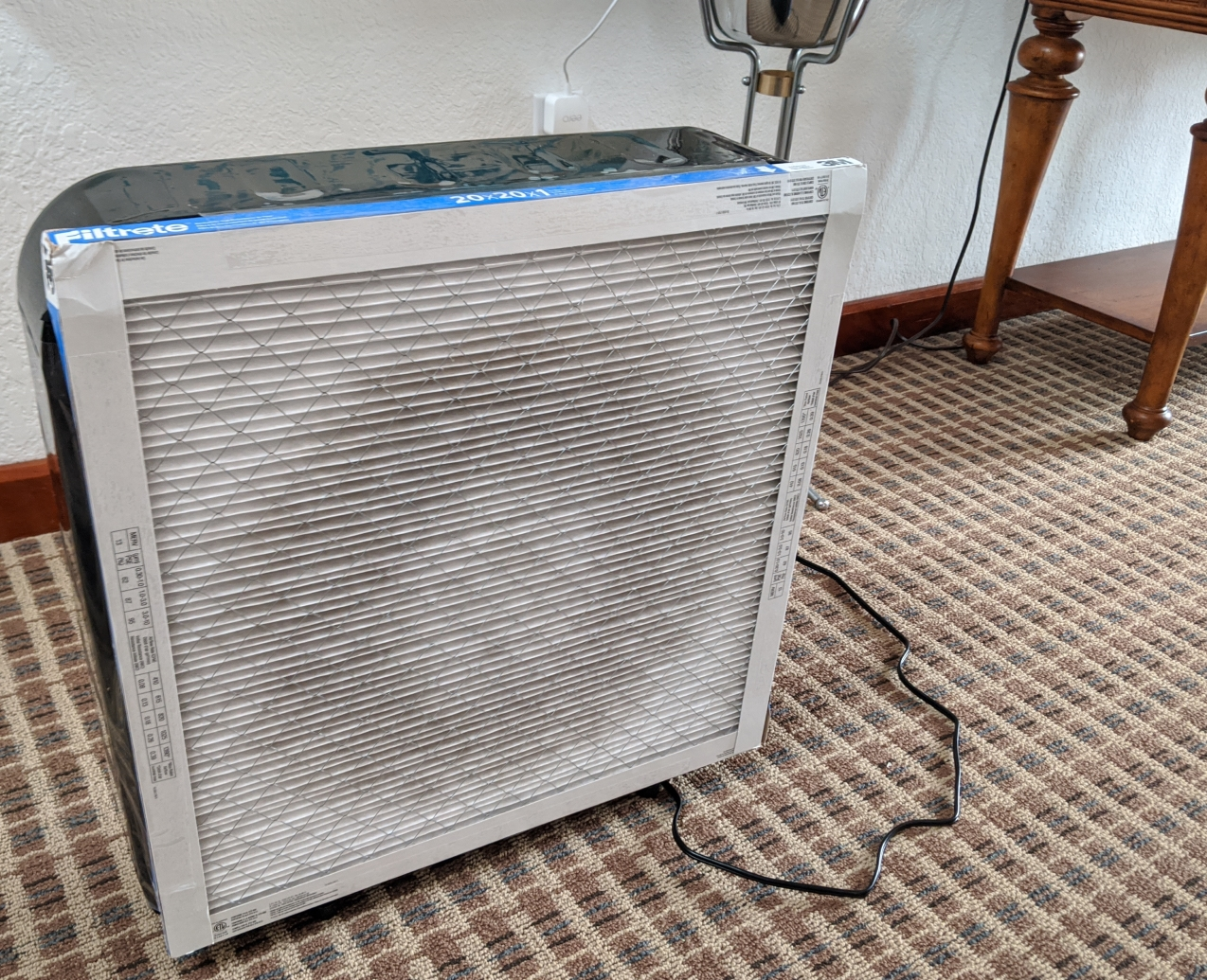 The completed DIY air purifier