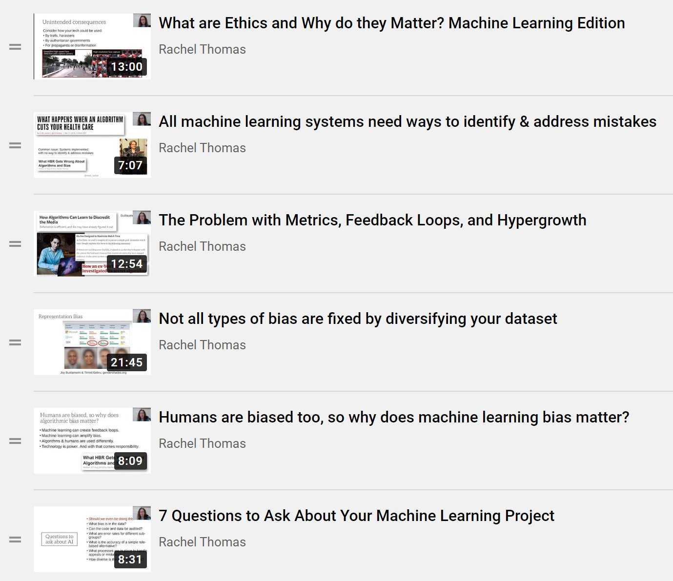 I made a playlist of 11 short videos (most are 6-13 mins long) on Ethics in Machine Learning. This is from my ethics lecture in Practical Deep Learnin