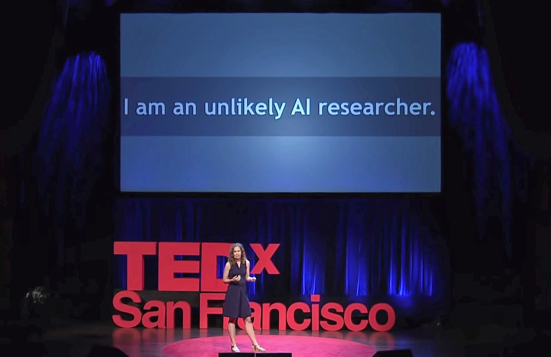 Onstage during my talk 'AI needs all of us' at San Francisco TEDx